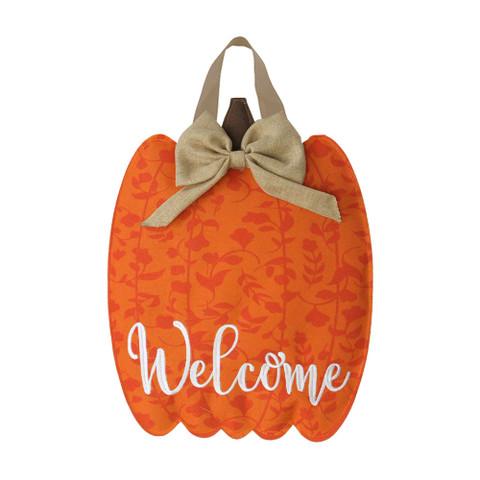 Autumn Pumpkin Burlap Door Hanger