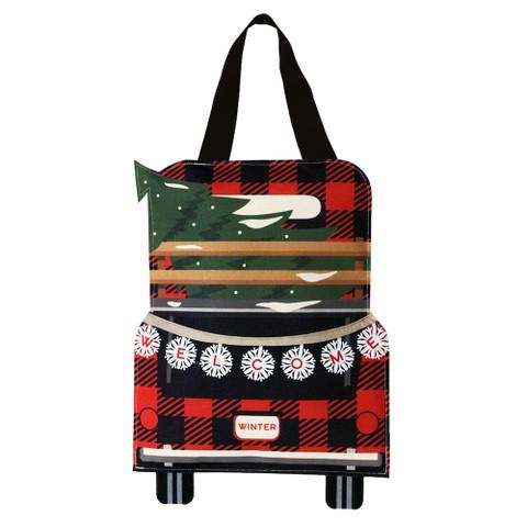 Red Checkered Truck Burlap Christmas Door Hanger