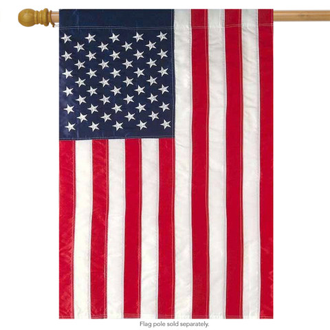 American Flag Applique & Embroidered House Flag