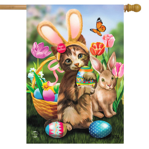 Bunny In Training Easter House Flag