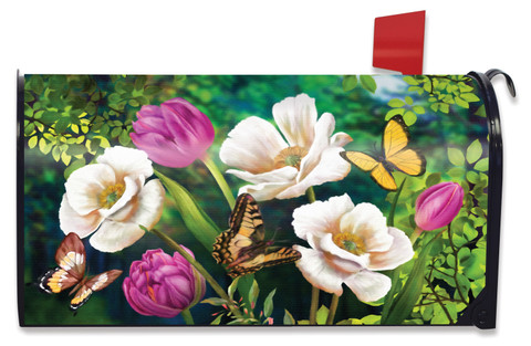 Butterflies And Poppies Spring Mailbox Cover