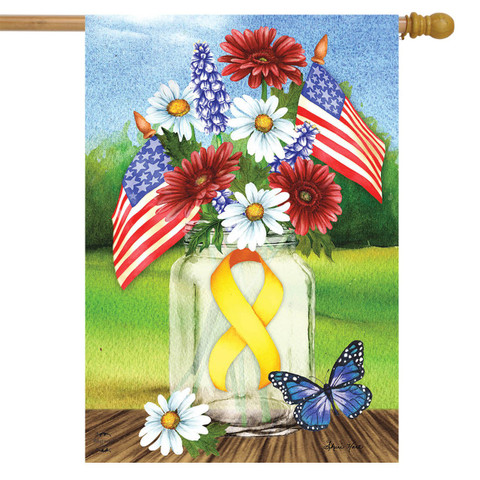 Support Our Troops Mason Jar House Flag