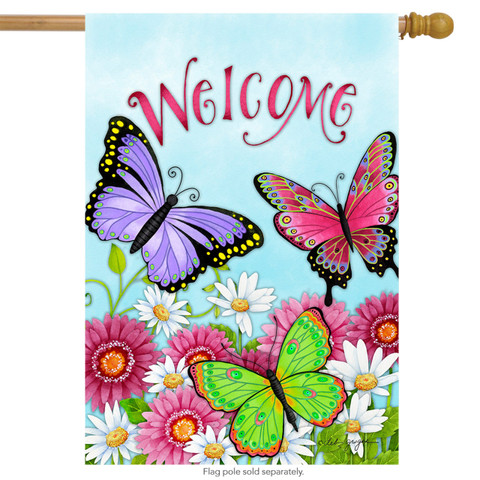 Welcome Butterfly Spring House Flag