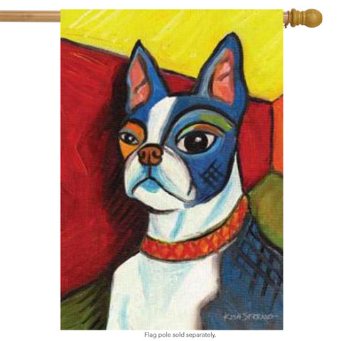 Pawcasso Boston Terrier Dog House Flag