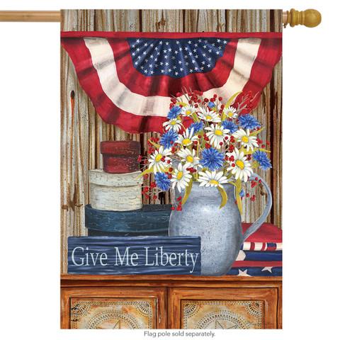 Give Me Liberty Primitive House Flag