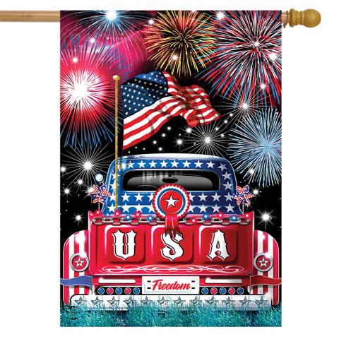 USA Pickup Patriotic House Flag