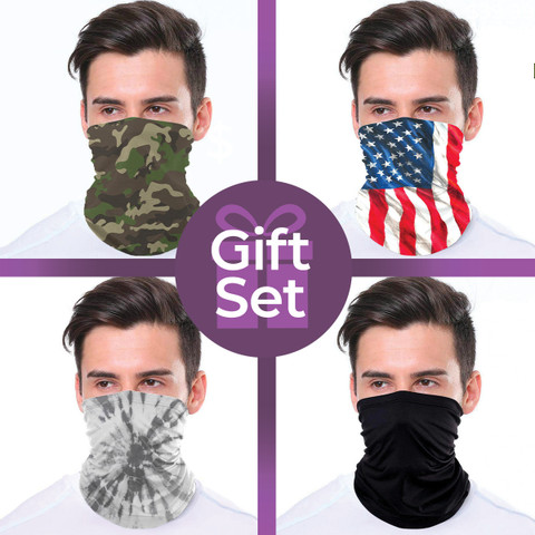 Neck Gaiter Wrap-Around Face Covering Gift Set (4-piece Collection)