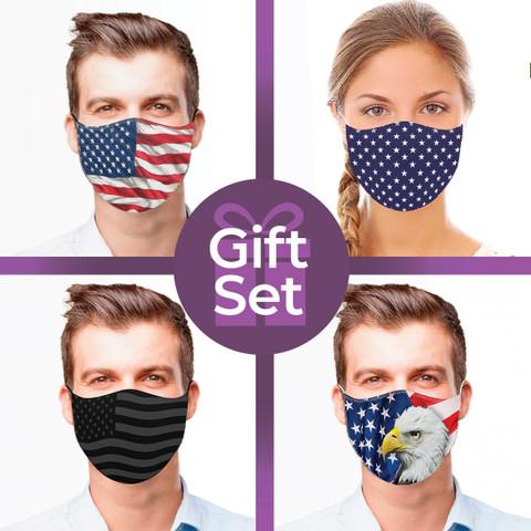 Patriotic Reusable Cloth Face Mask Gift Set (4-piece Collection)