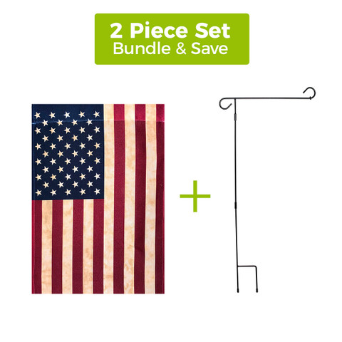 """Tea Stained American Flag 12.5""""x18"""" + 3-Piece Wrought Iron Garden Flag Stand Set"""