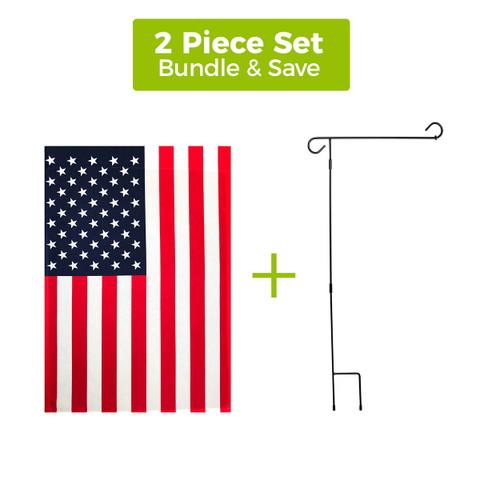 "American Garden Flag 12.5"" x 18"" + 3-Piece Wrought Iron Garden Flag Stand Set"