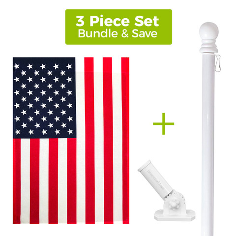 American House Flag + White Metal Flag Pole + Adjustable Bracket Set