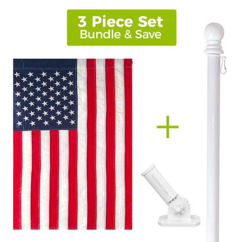 Embroidered American House Flag + White Metal Flag Pole + Adjustable Bracket Set