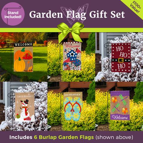 Ultimate Burlap Garden Flag Gift Set  - 6 Flags & 3-Piece Garden Flag Stand