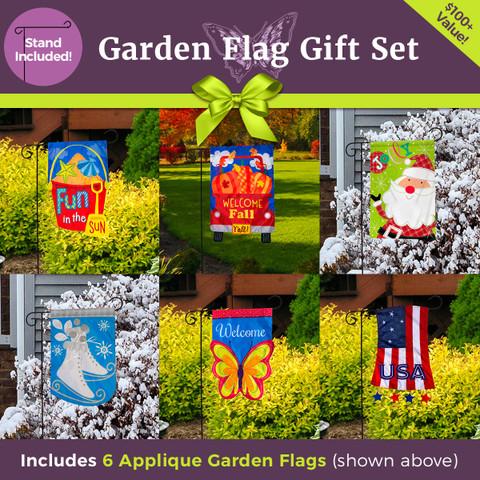 Ultimate Applique Garden Flag Gift Set  - 6 Flags & 3-Piece Garden Flag Stand