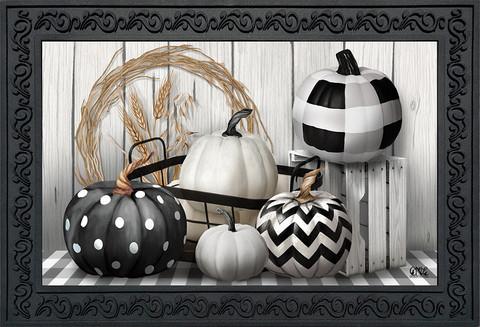 Black & White Pumpkins Fall Doormat