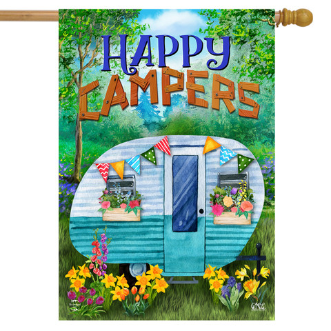 Spring Happy Campers Floral House Flag