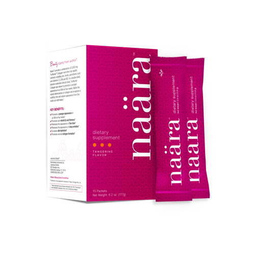 Skin care you can drink, Naära™ provides 5,000 mg TruMarine™ Collagen* to help replenish skin's natural loss of collagen over time.  Box Net Weight: 6.2 oz. (177g) 15 packets per box. Packet Net Weight 0.4 oz (11.8 g).