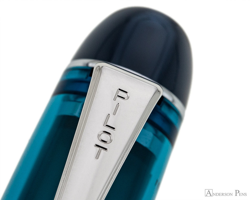 Pilot Custom 74 Fountain Pen - Teal - Clip Imprint