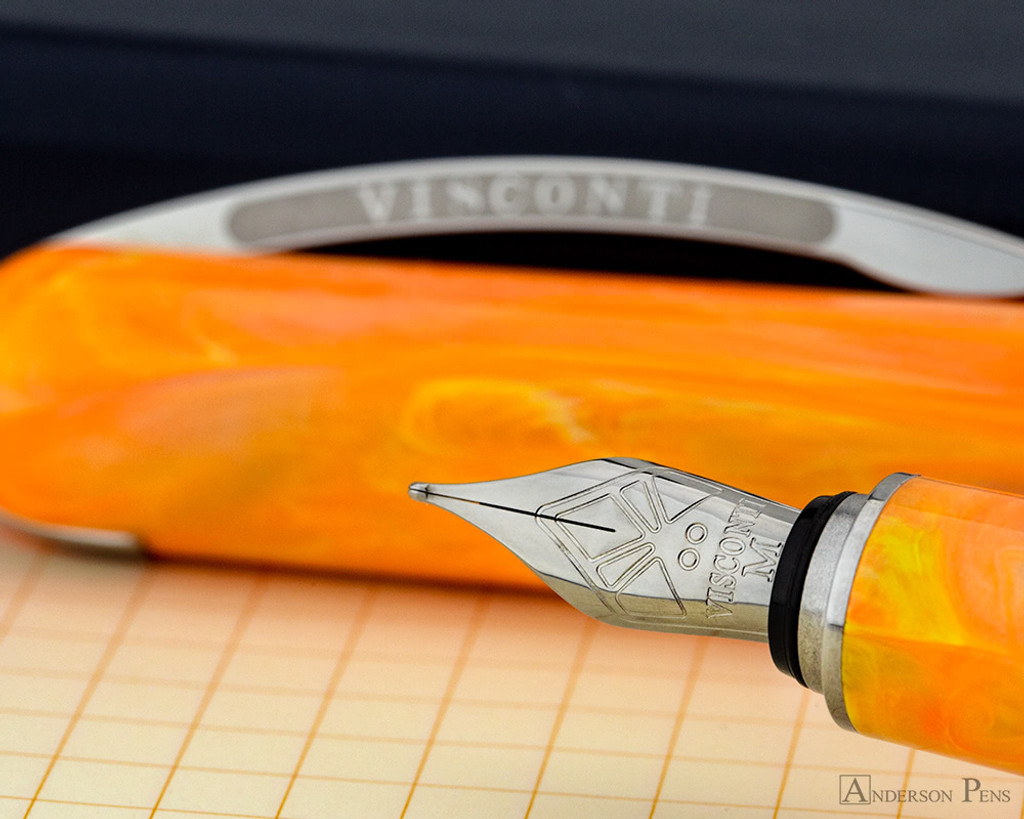 Visconti Breeze Fountain Pen - Mandarin on Notebook Nib