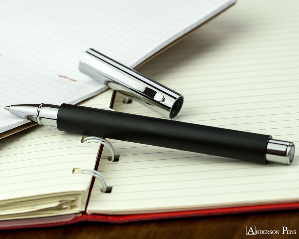 Faber-Castell Ambition Rollerball - Black - Open on Notebook