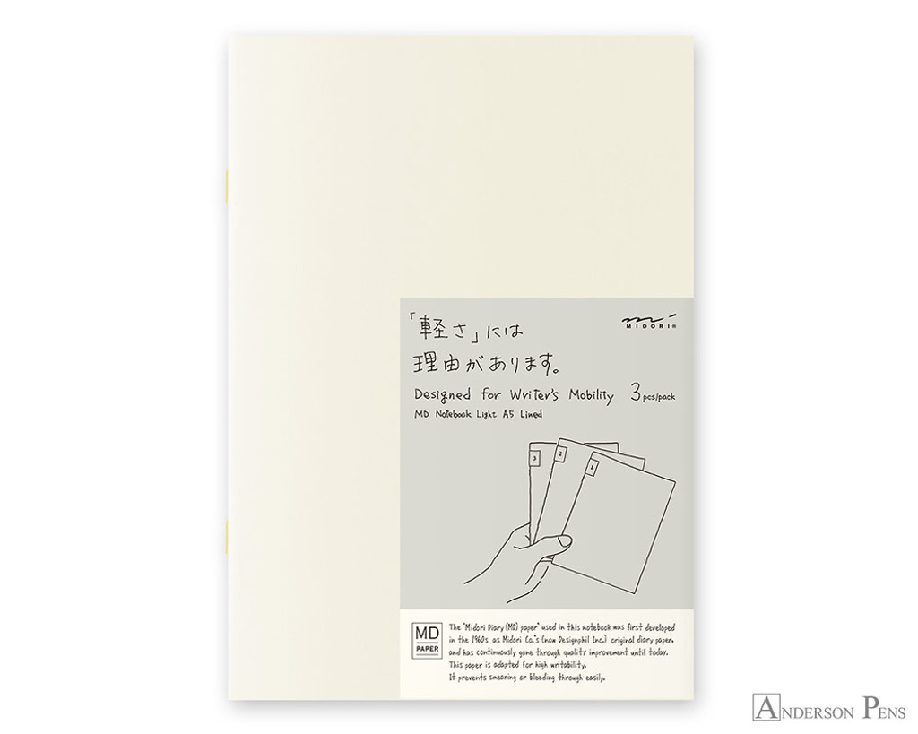 MD Notebook Light A5 Ruled Lines 3 Pack English Caption