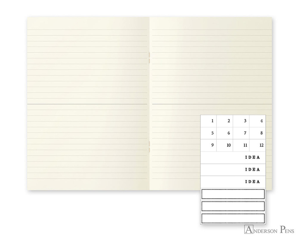 MD Notebook Light A5 Ruled Lines 3 Pack English Caption - Open