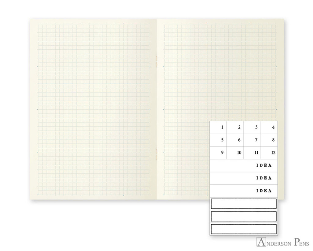 MD Notebook Light A5 Grid 3 Pack English Caption - Open