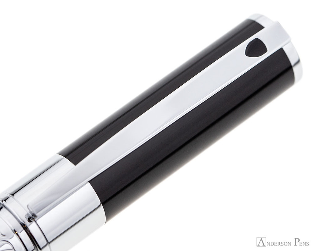 S.T. Dupont D-Initial Black and Chrome Rollerball - Clip