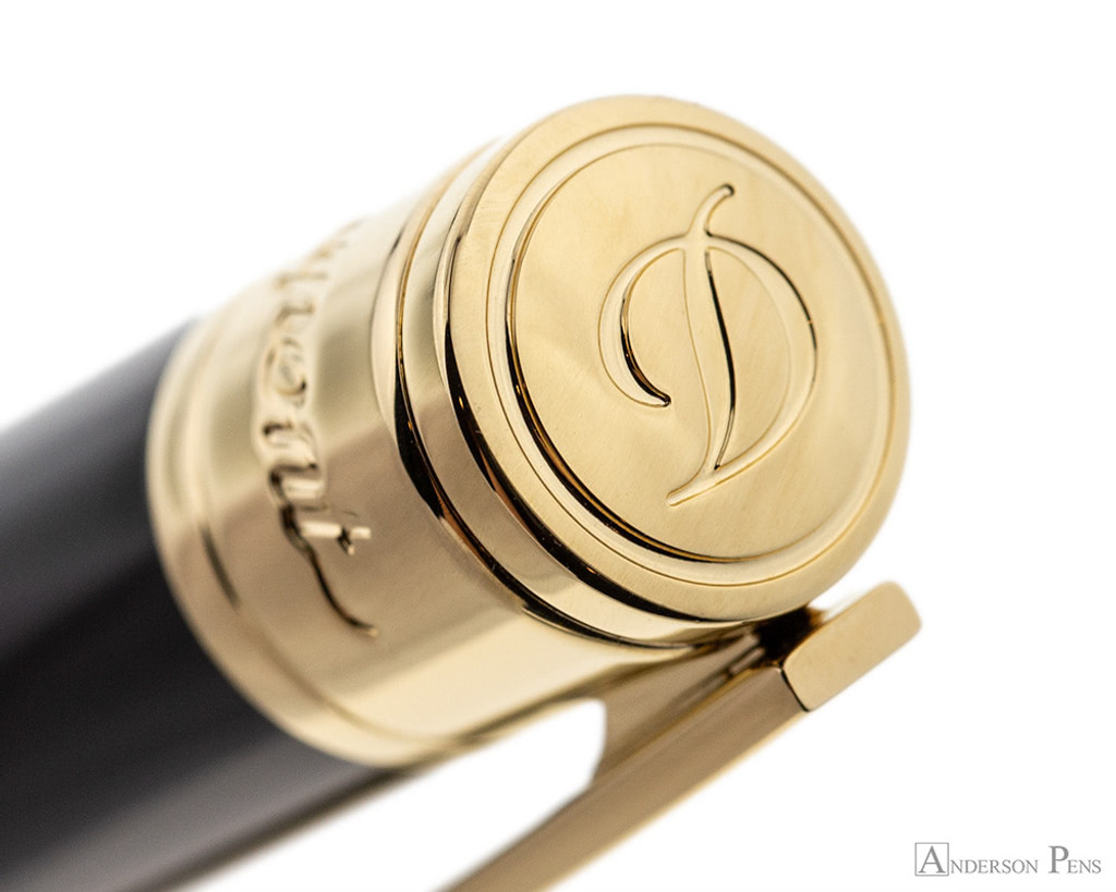 S.T. Dupont D-Initial Black and Gold Ballpoint - Cap Top