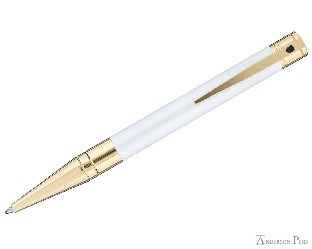 S.T. Dupont D-Initial Pearly White and Gold Ballpoint