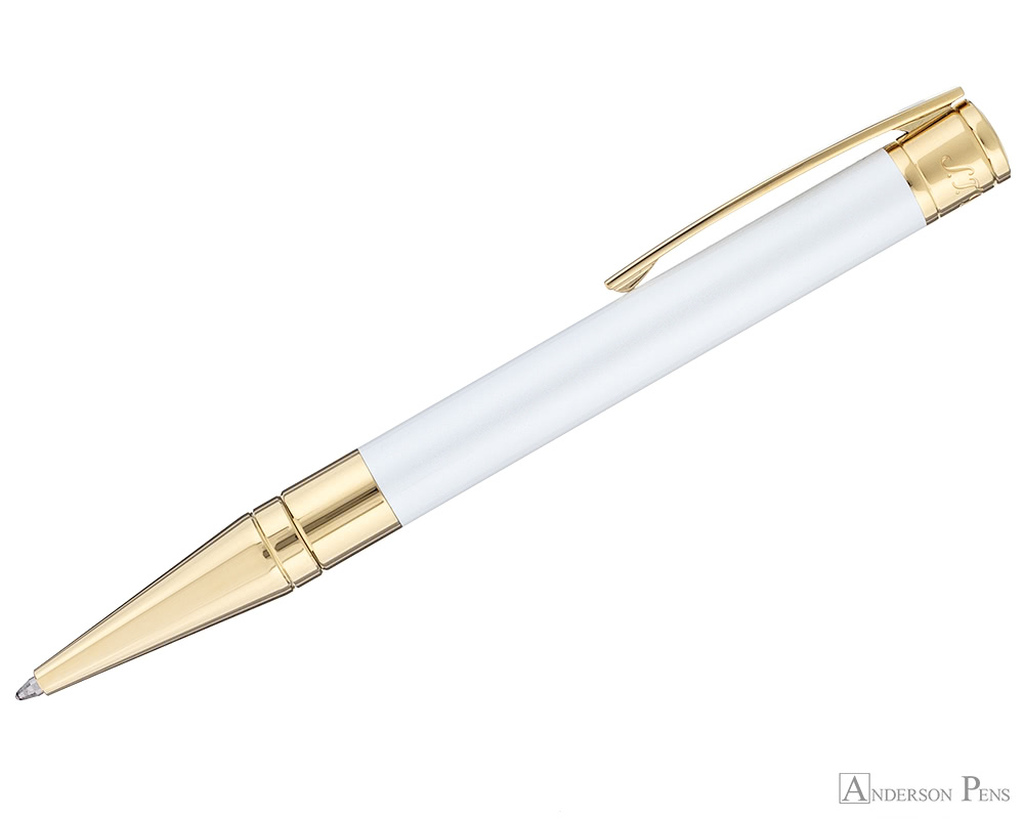 S.T. Dupont D-Initial Pearly White and Gold Ballpoint - Profile