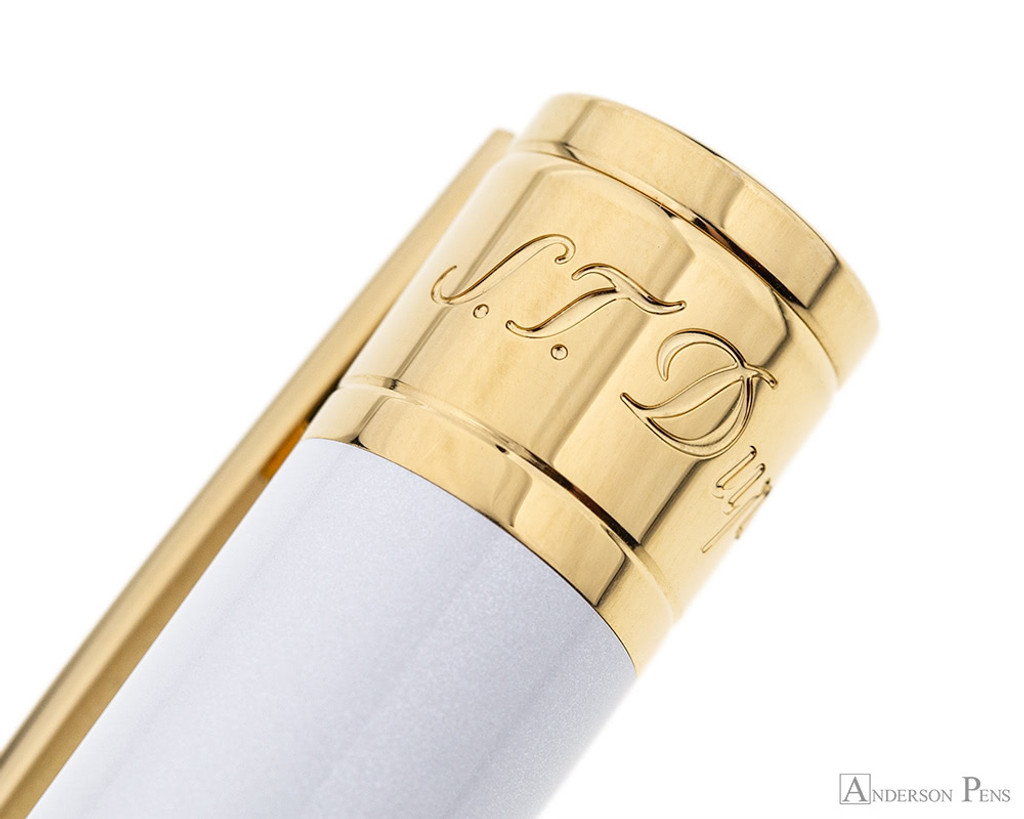 S.T. Dupont D-Initial Pearly White and Gold Ballpoint - Cap Engraving
