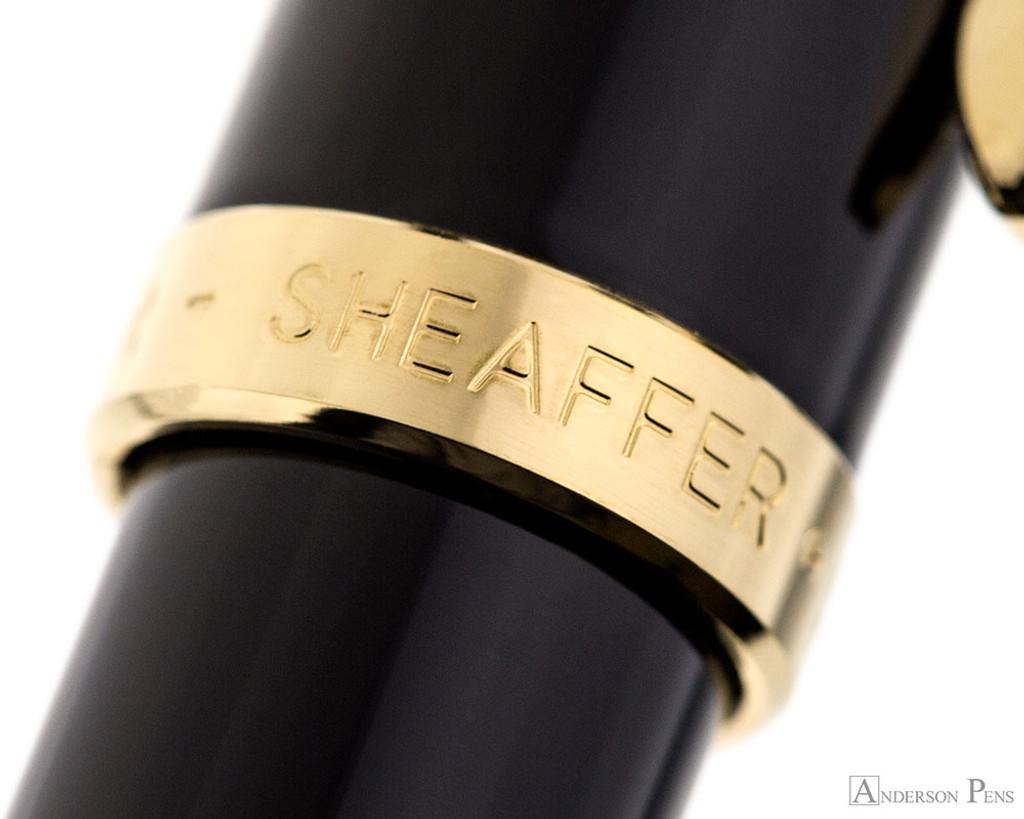 Sheaffer 100 Ballpoint - Black Barrel with Gold Trim - Cap Band