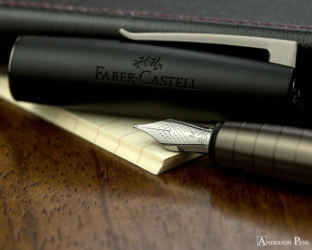 Faber-Castell Loom Gunmetal Matte Fountain Pen - Nib on Notebook