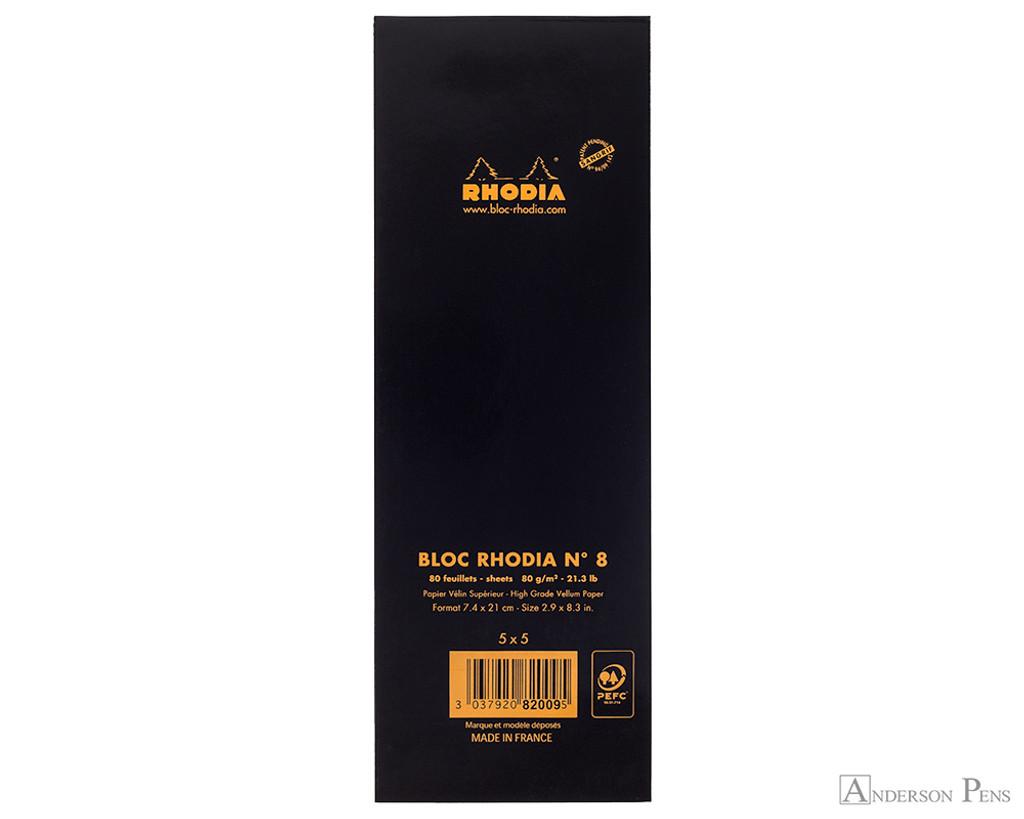Rhodia No. 8 Staplebound Notepad - 3 x 8.25, Graph - Black back cover