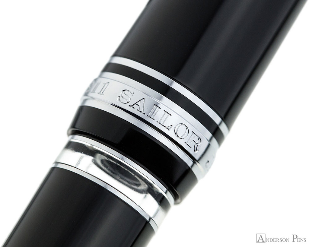 Sailor 1911 Realo Fountain Pen - Black with Silver Trim - Ink Window