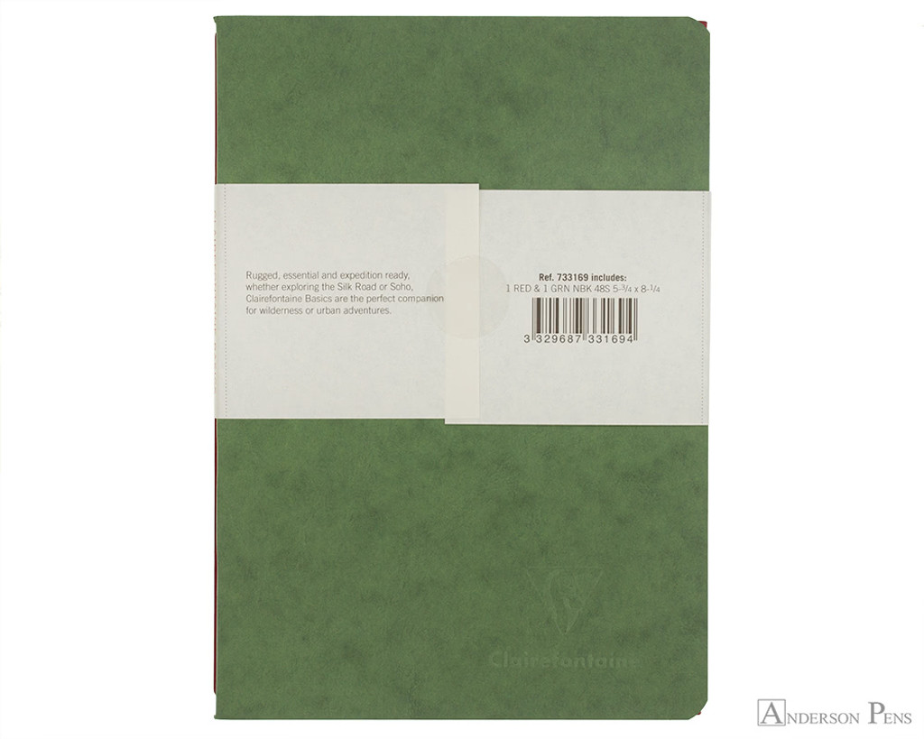 Clairefontaine Basic Staplebound Duo - 5.75 x 8.25, Lined Paper - Green