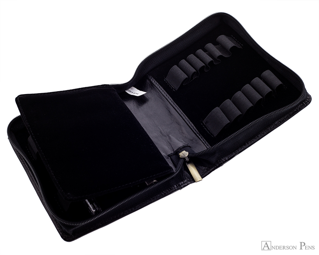 Girologio 12 Pen Case - Black Leather - Open