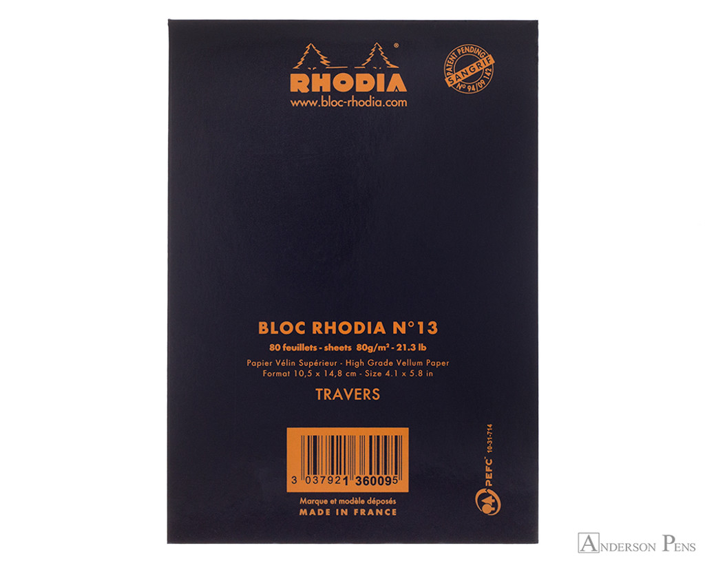 Rhodia No. 13 Staplebound Notepad - A6, Lined - Black back cover