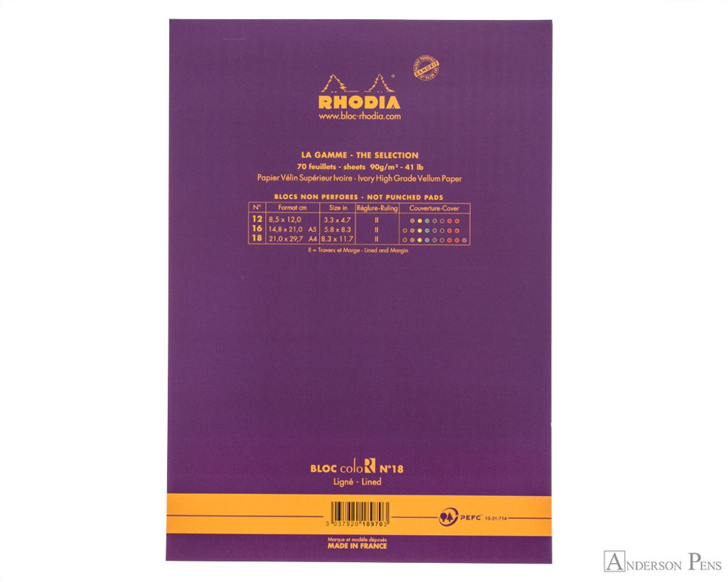 Rhodia No. 18 Premium Notepad - A4, Lined - Purple back cover