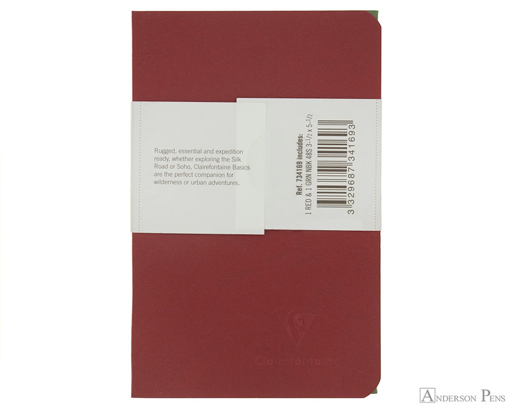 Clairefontaine Basic Staplebound Duo - 3.5 x 5.5, Lined Paper - Red