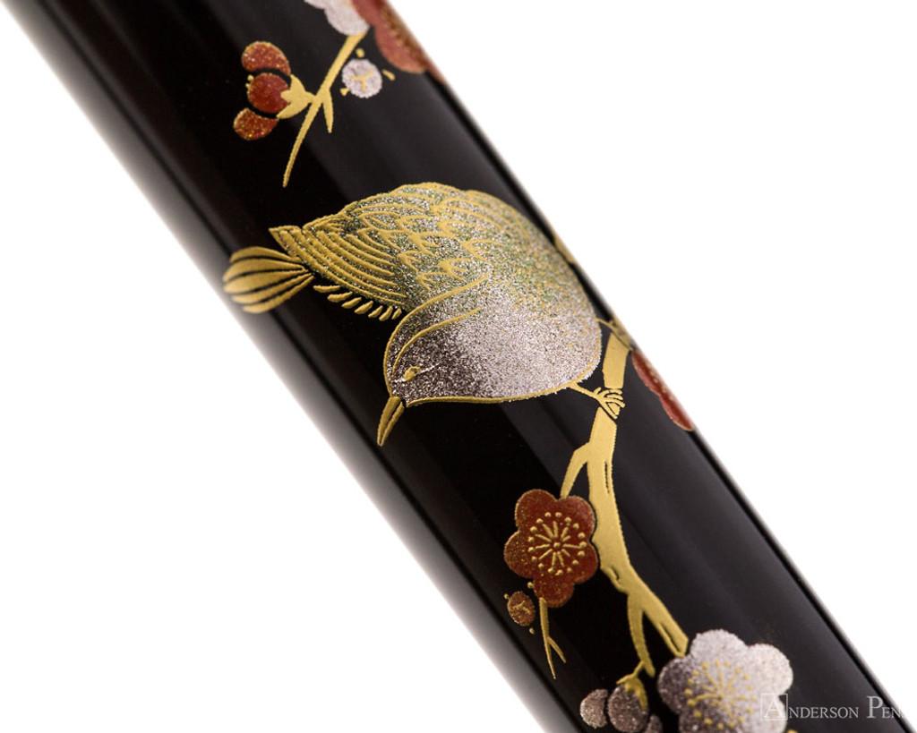 Platinum Classic Maki-e Fountain Pen - Bush Warbler - Closeup