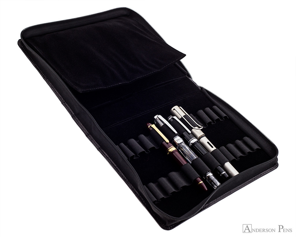 Girologio 24 Pen Case - Black Leather - Open with Pens