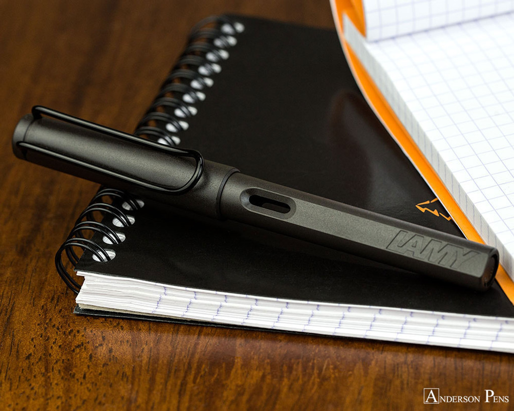 Lamy Safari Fountain Pen - Charcoal - Closed on Notebook