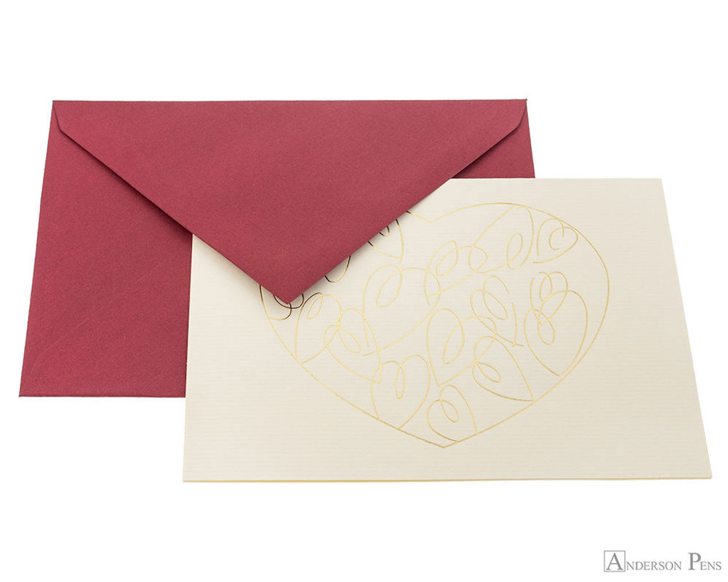 G. Lalo Tresor Notecards - 4.25 x 6, Heart - Ivory with Gold single