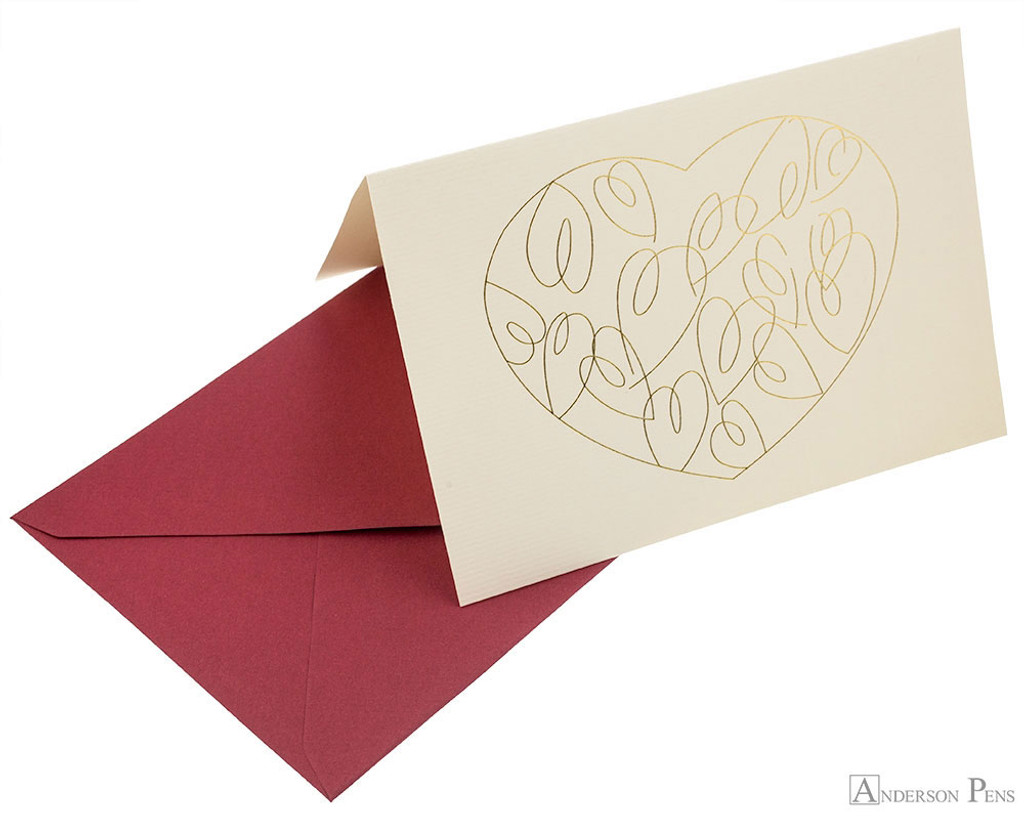 G. Lalo Tresor Notecards - 4.25 x 6, Heart - Ivory with Gold detail