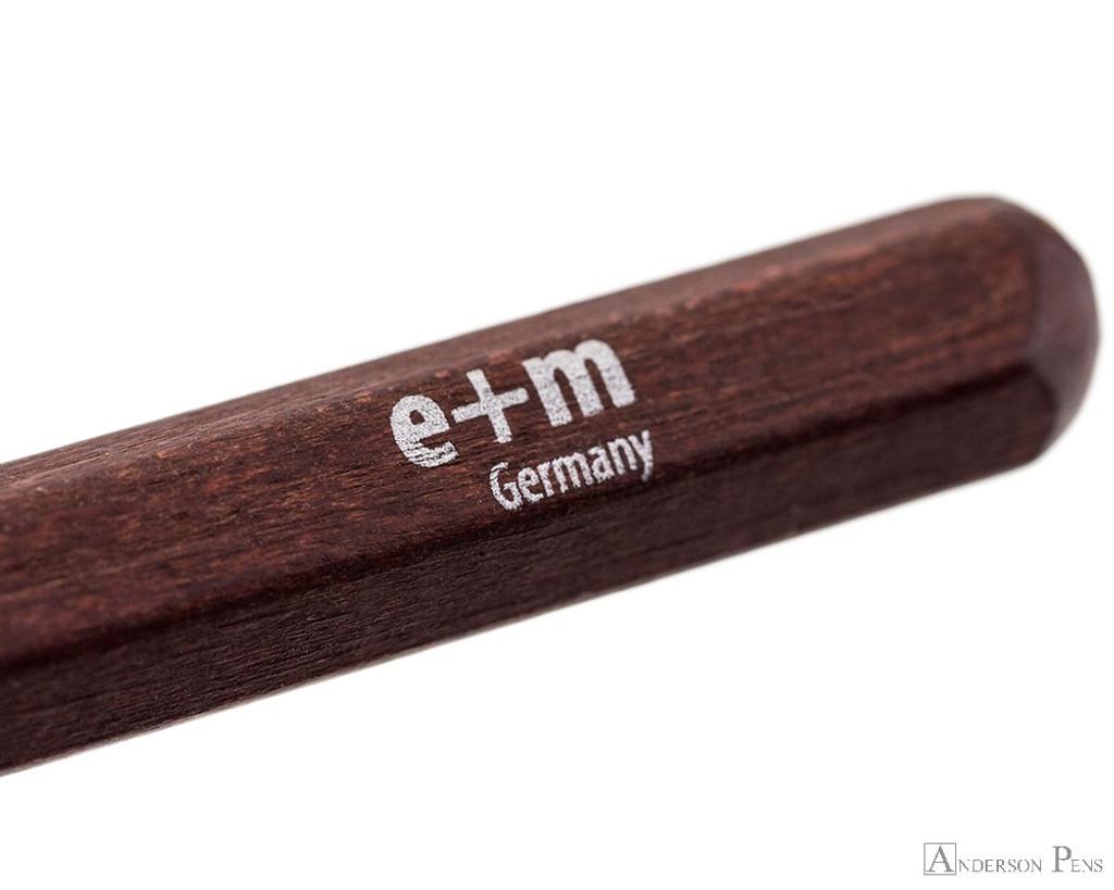 e + m Peanpole Pencil Extender - Mahogany - Imprint