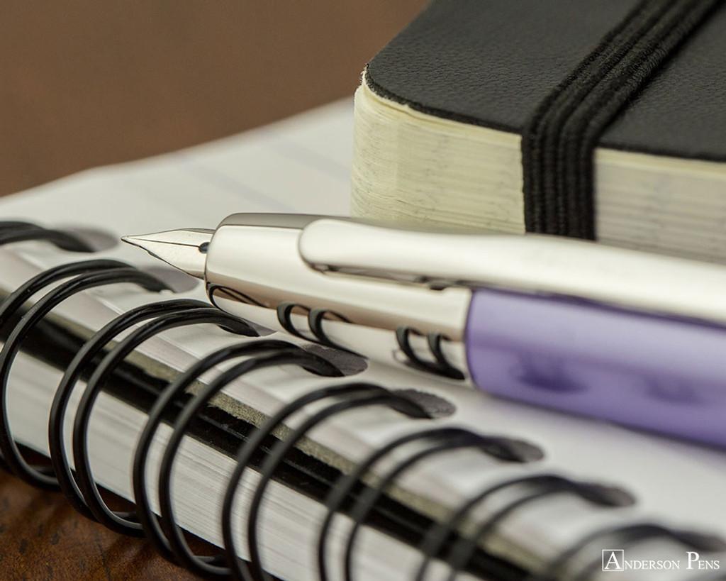 Pilot Vanishing Point Decimo Fountain Pen - Purple - Nib on Notebook