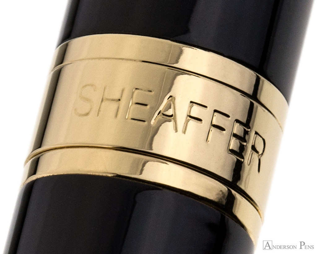 Sheaffer 300 Fountain Pen - Black with Gold Trim - Cap Band