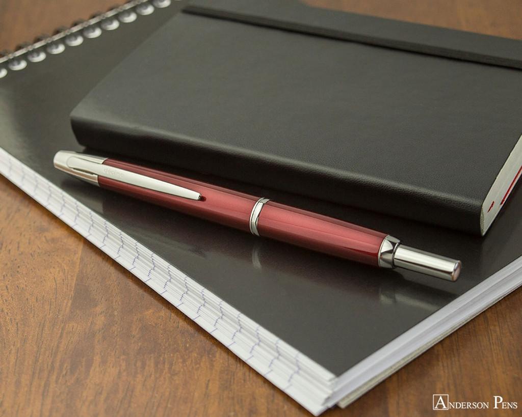 Pilot Vanishing Point Decimo Fountain Pen - Burgundy - On Notebook